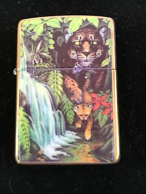 Zippo Mysteries of the Forest 1995 Collectible Jaguar and Cub at Turtle Falls