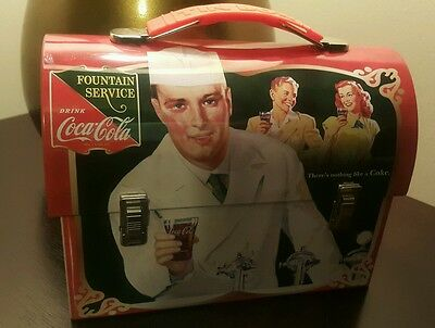 Coca Cola Old Style Tin Metal Lunch Box Tote Carrier