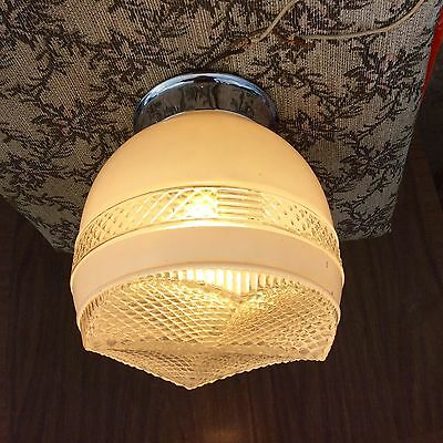 Midcentury Modern Bathroom/kitchen Fixture Ceiling Light Chrome Base Retro Globe