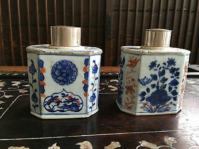 18th Cent Chinese Export Porcelain Tea Caddy/ Containers With Silver Cap