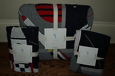 NWT Pottery Barn Kids Colton FQ quilt & 2 std shams astronaut space full queen