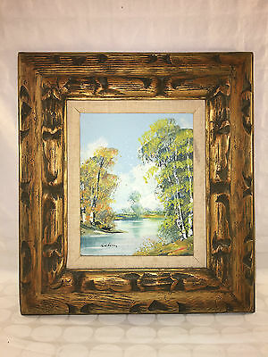Vintage Oil On Canvas Painting Signed Luhan Of Lake Trees Water Wooden Frame