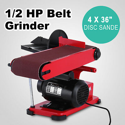 375W Bench Belt and Disc Sander Grinder Aluminum Frame Benchtop Linisher Machine