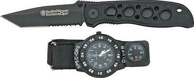 Smith & Wesson SWWSO2 Wesson Special Ops Watch/ Knife Combo W/ A Sw5Tbs Ext
