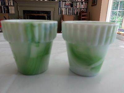 VINTAGE AKRO AGATE GREEN GLASS POTS JADITE JADEITE with Orig Price Woolworth's
