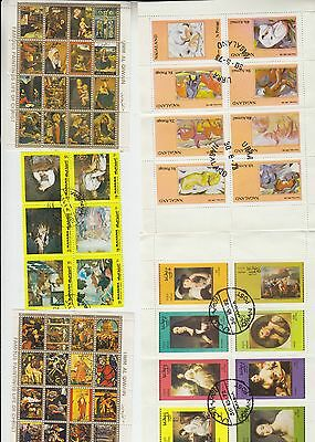 Collection of around 300 stamps with ART and PAINTINGS a5