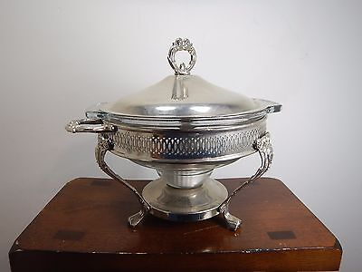 "Anchor Stainless Steel Chafing Dish Warmer W/Lid and Glass Dish Sterno 9"" 2 qt"