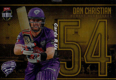 2016 - 17 Tap N Play Cricket Jersey Numbers Gold Card JNG 15 Dan Christian 16/54