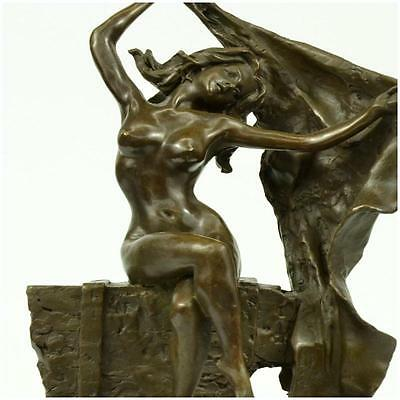 Bronze Statue Sculpture Sexy Lady Nouveau Deco Lost Wax Home Deco Figurine  A