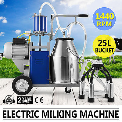 Electric Milking Machine For Farm Cows W/Bucket Vacuum Pump Automatic Sheep