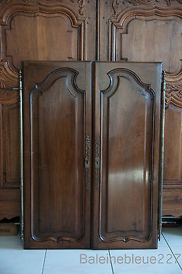 Set 2 French Antique Carved Louis XV Style Architectural Panel Door Solid Walnut