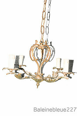 French Bronze Chandelier Floral Cage 4 lights Architecture Restaurant 1900 old