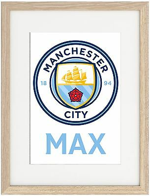 Manchester City A4 Poster Name Personalised  Premier League Aguero Pep Silva
