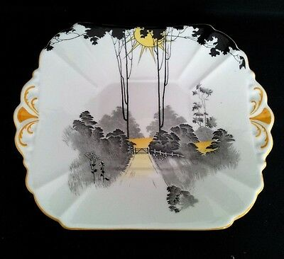 "Shelley ""queen Anne"" Tall Trees&sunset Cake Plate #11678 C1925-40"