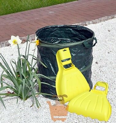 Heavy Duty Hand Held Pair Leaf Collectors & 73L Pop Up Refuse Bag Gardening Set