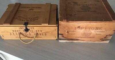 Vintage Lot Wooden Wine Crate Box Caves Alianca Wood Pippione Italy