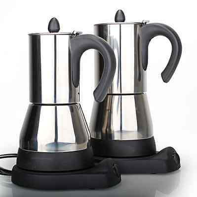 * Electric Moka Coffee Pot * Stainless Steel . Up to 4 expresso cups capacity