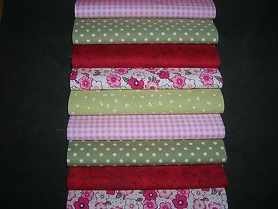 "40 x 5"" CHARM PACK PINK & GREEN 100% COTTON PATCHWORK/QUILTING/CRAFTS GR3"