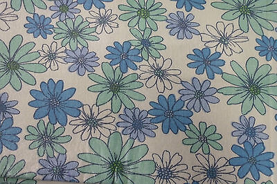 Vintage Daisy Blue Fabric Single Sheet Size Craft Daisies Material