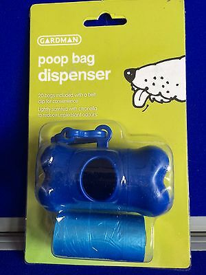 NEW Scented Poop Bag Dispenser Bone Blue Clip Refillable Pet Dog Walk Gardman
