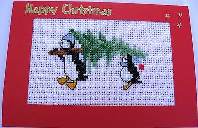 """Christmas Card Completed Cross Stitch Penguins & Tree 6x4"""""""