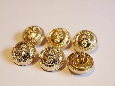 6x King's Own Royal Regiment MILITARY JACKET BUTTONS 16mm