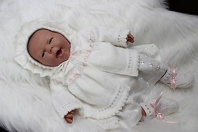 """'Esther' - Hand-Knitted Outfit for Reborn Doll approx.22"""" in length.  m4d110"""