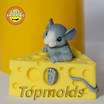 Mouse in cheese 3D mold Food grade mold silicone molds mold soap Free Shipping