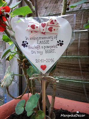Pet,Dog,Cat Memorial Grave Stick Tribute,Personalised Heart-You left a paw print