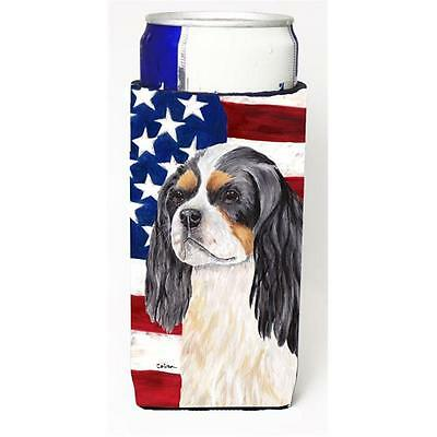USA American Flag with Cavalier Spaniel Michelob Ultra s for slim cans