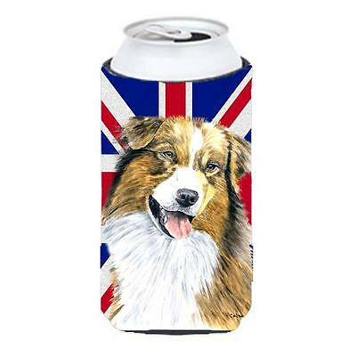 Australian Shepherd With English Union Jack British Flag Tall Boy bottle slee...