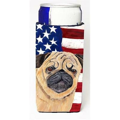 Usa American Flag With Pug Michelob Ultra bottle sleeves For Slim Cans 12 oz.