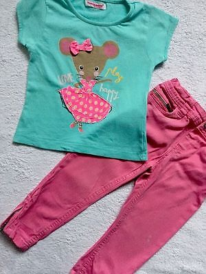 Girl Set T-shirt And Pink Trousers By Young Dimension / Denim&co Age 2-3 Years
