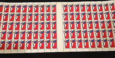 Very Rare Not Folded Full Sheet 100 MNH 1974 Non Olympic Sports Rugby 7c stamps