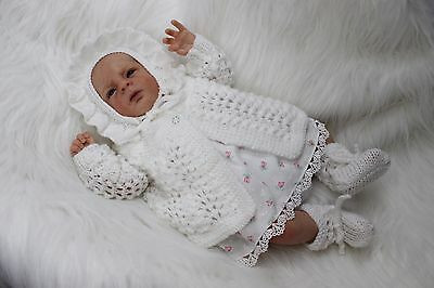 """'Freya'  - Hand-Knitted Outfit for Reborn Doll (18"""" long) m4d115"""