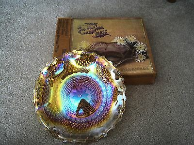 Iridescent Gold Carnival Glass 1263 Crimped Hostess Plate Indiana Glass Co NOS