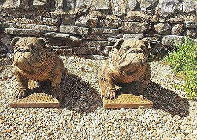 Pair of Handmade Stone Cast Sitting British Bulldog Garden Home Ornament Statue