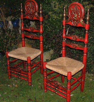 Antique vintage Tall Eastern Hall /side Chairs Unusual Design in Red /gold