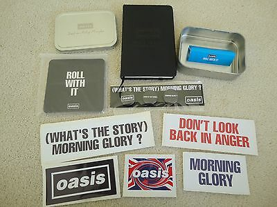 Oasis Tobacco Tin with Papers, Notebook, Badges,Beermats & Stickers