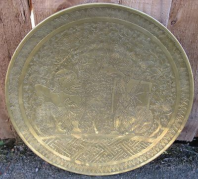 Antique Javanese Burmese South East Asian Finely Engraved Bronze Or Brass Dish