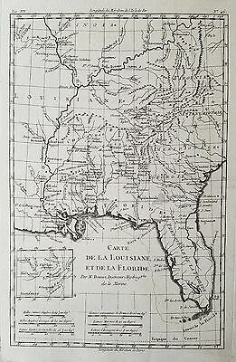 Original antique map of the Southeastern United States from 1780 by R. Bonne