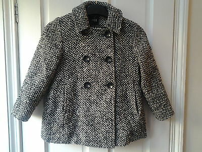 Girls Next Coat 7-8 Years, Black Marl, Double Breasted, Good Condition