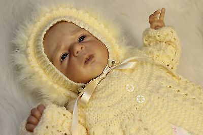 "'Kara' - Hand-Knitted Outfit for Reborn Doll approx.18"" in length.  m4d122"