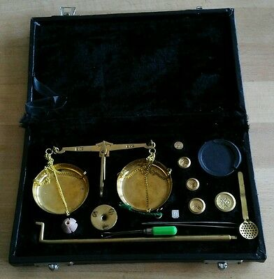 alte Gold Waage - Münzwaage - komplett -  made in India - vintage scales
