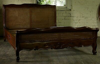 Reproduction Mahogany Louis Rattan 5' Low End French Style Bed Brand New