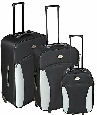 3 Pcs Trolley Set Travel Suitcase Baggage Luggage Black 2 Big Bags +1 Cabin Case