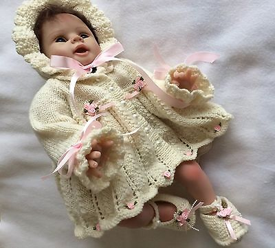 """Hand Knitted 3 Piece Matinee Set 0/3 Month Baby 19/22"""" Reborn Doll"""