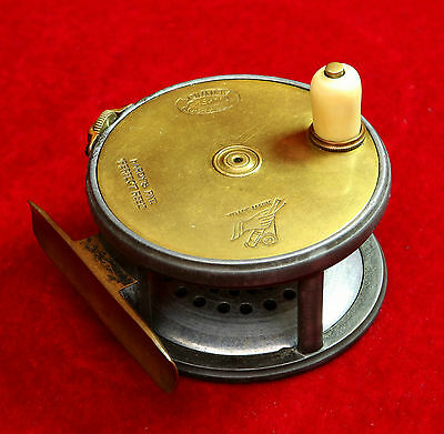 """Vintage Hardy 3"""" Wide Drum Brass Faced Perfect Fly Reel"""