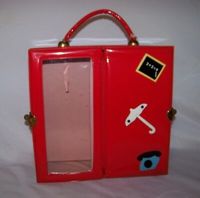 """1960s Red Vinyl Doll Carry Case  Alexander-Kins Vogue Ginny 8"""" Dolls 3 Section"""