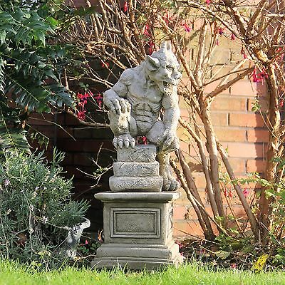 Large Guardian Gargoyle On Plinth Stone Cast Garden Ornament Ghotic Dragon Decor